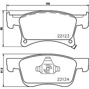 Bremsbelagsatz, Scheibenbremse Breite: 155mm, Höhe 1: 68mm, Höhe 2: 61,8mm, Dicke/Stärke: 17,8mm mit OEM-Nummer 95 524 973