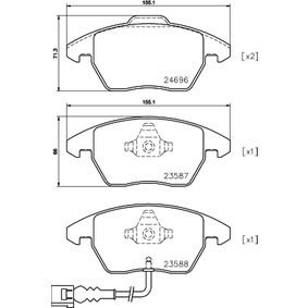 Kit de plaquettes de frein, frein à disque Largeur: 155,1mm, Hauteur 1: 71,5mm, Hauteur 2: 66mm, Épaisseur: 20,3mm avec OEM numéro 3C0 698 151 J