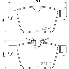 Brake Pad Set, disc brake Width: 122,4mm, Height 1: 56,1mm, Height 2: 59,6mm, Thickness: 16,1mm with OEM Number LR123595