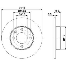 Bremsscheibe Bremsscheibendicke: 9,9mm, Ø: 239mm mit OEM-Nummer 811 615 301