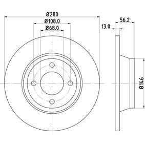 Bremsscheibe Bremsscheibendicke: 13mm, Ø: 280mm mit OEM-Nummer 8A0.615.301