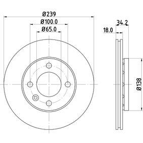 Bremsscheibe Bremsscheibendicke: 18,0mm, Ø: 239mm mit OEM-Nummer 6N0615301F