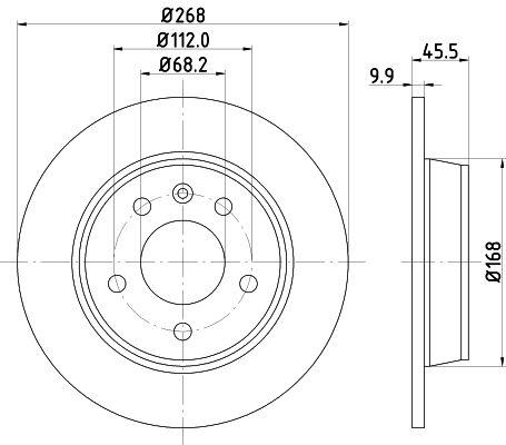 HELLA PRO 8DD 355 104-501 Bremsscheibe Bremsscheibendicke: 9,9mm, Ø: 268mm