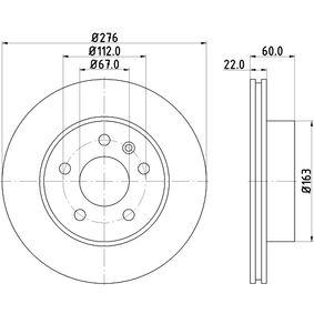 Bremsscheibe Bremsscheibendicke: 22,0mm, Ø: 276mm mit OEM-Nummer A 638 421 0112