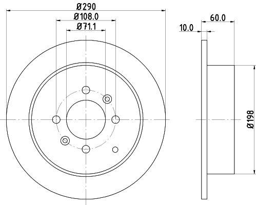 HELLA PRO 8DD 355 105-231 Bremsscheibe Bremsscheibendicke: 10mm, Ø: 290mm