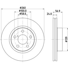 Bremsscheibe Bremsscheibendicke: 24,0mm, Ø: 260,0mm mit OEM-Nummer 26300AE040
