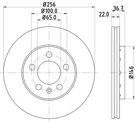 HELLA PRO 8DD 355 105-361 Bremsscheibe Bremsscheibendicke: 22mm, Ø: 256mm