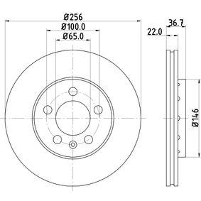 HELLA PRO 8DD 355 105-361 Bremsscheibe Bremsscheibendicke: 22,0mm, Ø: 256mm