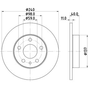 Bremsscheibe Bremsscheibendicke: 11,0mm, Ø: 240,0mm mit OEM-Nummer 71739571