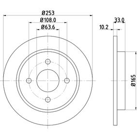 Brake Disc Brake Disc Thickness: 10,2mm, Ø: 253mm with OEM Number 95GB 2A315B 1C