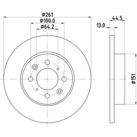 Спирачен диск дебелина на спирачния диск: 13,0мм, Ø: 261мм с ОЕМ-номер SDB100500