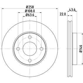 Brake Disc Brake Disc Thickness: 22mm, Ø: 258mm with OEM Number 98AG-1125E-A