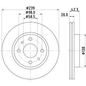 Bremsscheibe Bremsscheibendicke: 20mm, Ø: 239mm mit OEM-Nummer 2110 350 1070