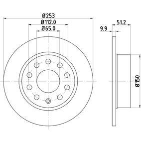Bremsscheibe Bremsscheibendicke: 9,9mm, Ø: 253mm mit OEM-Nummer 1K0615601AB