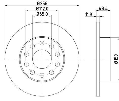HELLA  8DD 355 109-631 Bremsscheibe Bremsscheibendicke: 11,9mm, Ø: 256mm