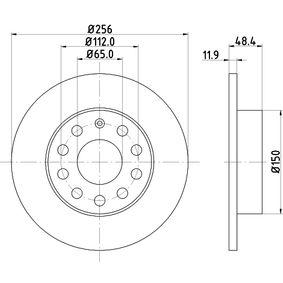 Bremsscheibe Bremsscheibendicke: 11,9mm, Ø: 256mm mit OEM-Nummer 8P0098601N