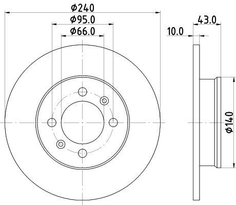 HELLA  8DD 355 113-361 Bremsscheibe Bremsscheibendicke: 10mm, Ø: 240mm