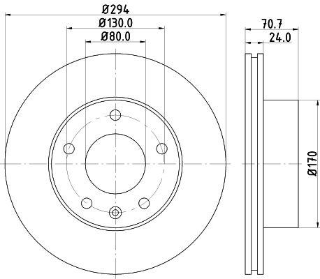 HELLA  8DD 355 113-391 Bremsscheibe Bremsscheibendicke: 24mm, Ø: 294mm