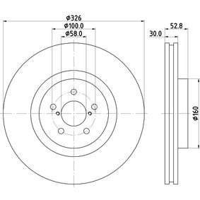 Bremsscheibe Bremsscheibendicke: 30,0mm, Ø: 326,0mm mit OEM-Nummer 26300 FE000