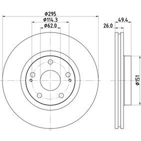 Bremsscheibe Bremsscheibendicke: 26,0mm, Ø: 295mm mit OEM-Nummer 43512 YZ ZAA