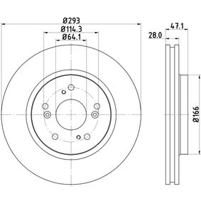 Brake Disc Brake Disc Thickness: 28mm, Ø: 293mm with OEM Number 45251-SWW-G01