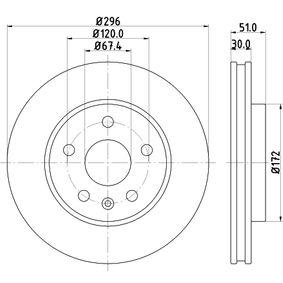 Bremsscheibe Bremsscheibendicke: 30mm, Ø: 296mm mit OEM-Nummer 13502213