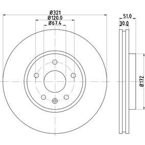 Bremsscheibe Bremsscheibendicke: 30mm, Ø: 321mm mit OEM-Nummer 13502214