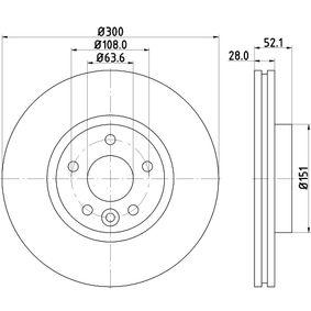 Bremsscheibe Bremsscheibendicke: 28,0mm, Ø: 300mm mit OEM-Nummer 7G91 1125 EA