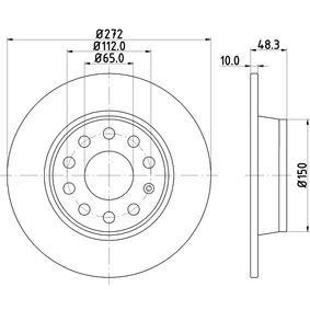 Bremsscheibe Bremsscheibendicke: 10mm, Ø: 272mm mit OEM-Nummer 5QD 615 601 A