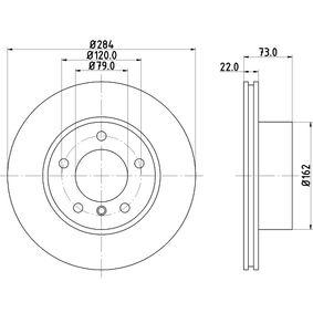 Bremsscheibe Bremsscheibendicke: 22mm, Ø: 284mm mit OEM-Nummer 3411 6 854 996