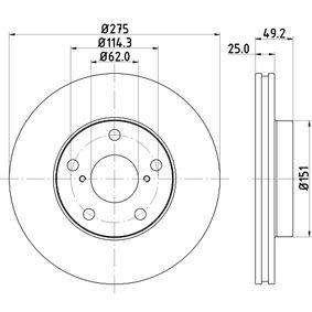 Brake Disc 8DD 355 118-691 RAV 4 II (CLA2_, XA2_, ZCA2_, ACA2_) 2.0 MY 2001