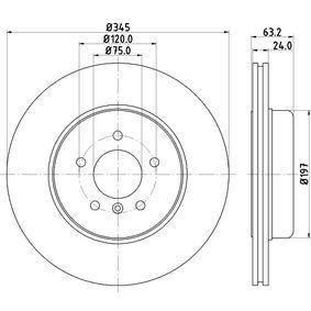 Bremsscheibe Bremsscheibendicke: 24,0mm, Ø: 345mm mit OEM-Nummer 34 21 6 763 827