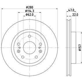 Bremsscheibe Bremsscheibendicke: 22,0mm, Ø: 280,0mm mit OEM-Nummer 5531161M00