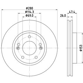 Brake Disc Brake Disc Thickness: 26mm, Ø: 280mm with OEM Number 517123K010