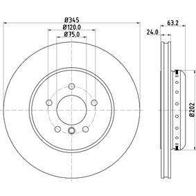 Bremsscheibe Bremsscheibendicke: 24,0mm, Ø: 345mm mit OEM-Nummer 3421 6 763 827