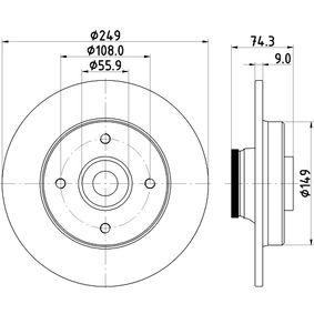 HELLA PRO 8DD 355 123-301 Bremsscheibe Bremsscheibendicke: 9,0mm, Ø: 249mm