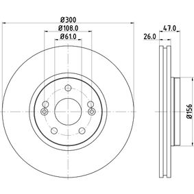 Bremsscheibe Bremsscheibendicke: 26,0mm, Ø: 300mm mit OEM-Nummer 7701 206 614