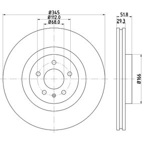 Brake Disc Brake Disc Thickness: 29,3mm, Ø: 345mm with OEM Number 8K0615301Q