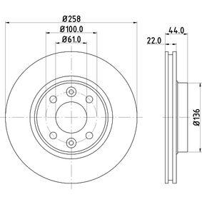 Brake Disc Brake Disc Thickness: 22mm, Ø: 258mm with OEM Number 4020 622 12R