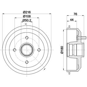 Brake Drum Drum Ø: 180mm, Outer Br. Sh. Diameter: 216mm with OEM Number 4034886