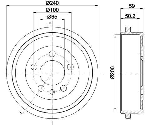 HELLA  8DT 355 300-371 Bremstrommel Trommel-Ø: 200mm, Br.Tr.Durchmesser außen: 240mm