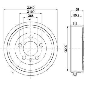 Bremstrommel Trommel-Ø: 200mm, Br.Tr.Durchmesser außen: 240mm mit OEM-Nummer 6QE 609 617