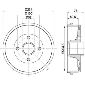 Renault Twingo 2 1.2 (CN0D) Bremstrommel HELLA 8DT 355 301-071 (1.2 Benzin 2014 D7F 800)