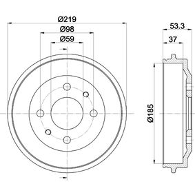 Bremstrommel Trommel-Ø: 185,3, Br.Tr.Durchmesser außen: 219mm mit OEM-Nummer 4373614