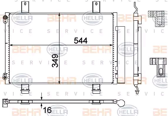 Klimakondensator 8FC 351 303-494 HELLA 8FC 351 303-494 in Original Qualität