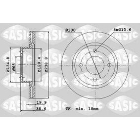 Bremsscheibe Bremsscheibendicke: 19,9mm, Lochanzahl: 4, Ø: 238,8mm mit OEM-Nummer 321.615.301C