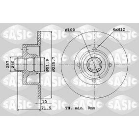 Bremsscheibe Bremsscheibendicke: 10mm, Lochanzahl: 4, Ø: 225,7mm mit OEM-Nummer 6N0615601