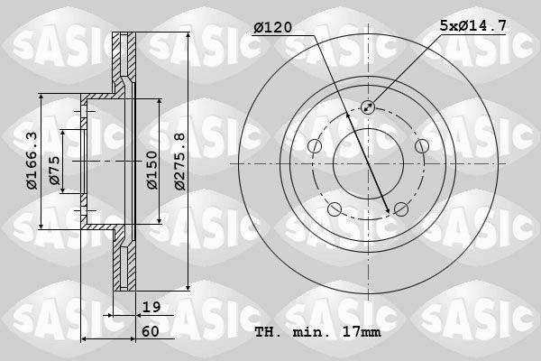 SASIC  9004801J Bremsscheibe Bremsscheibendicke: 19mm, Lochanzahl: 5, Ø: 275,8mm