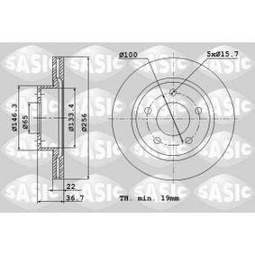 SASIC  9004878J Bremsscheibe Bremsscheibendicke: 22mm, Lochanzahl: 5, Ø: 256mm