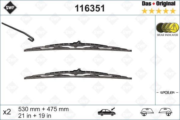 Windscreen Wiper 116351 SWF 116351 original quality